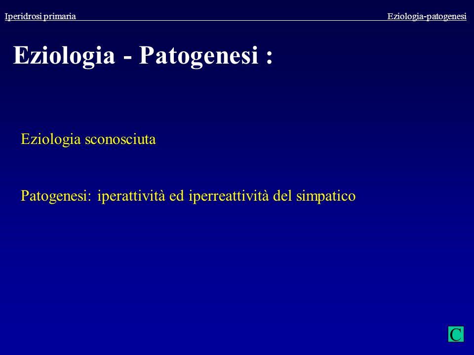 Iperidrosi primaria Eziologia-patogenesi Eziologia - Patogenesi : Eziologia sconosciuta Patogenesi: iperattività ed iperreattività del simpatico C