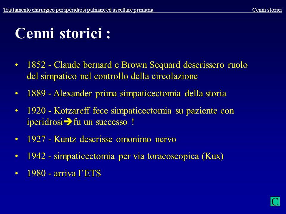 Trattamento chirurgico per iperidrosi palmare ed ascellare primaria Cenni storici Cenni storici : 1852 - Claude bernard e Brown Sequard descrissero ru
