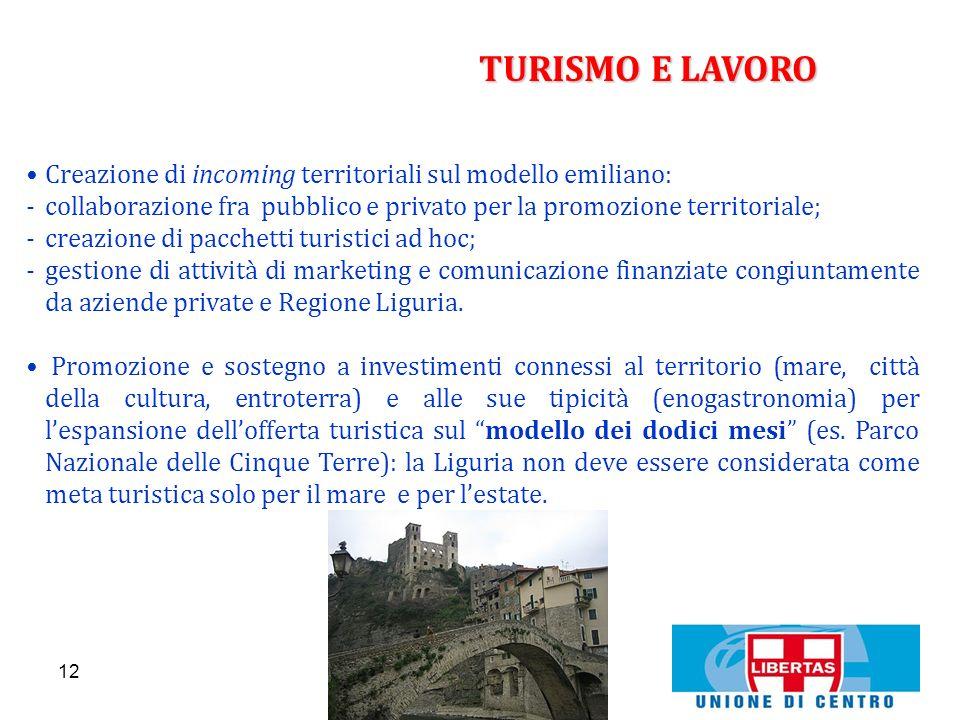 12 TURISMO E LAVORO Creazione di incoming territoriali sul modello emiliano: -collaborazione fra pubblico e privato per la promozione territoriale; -c