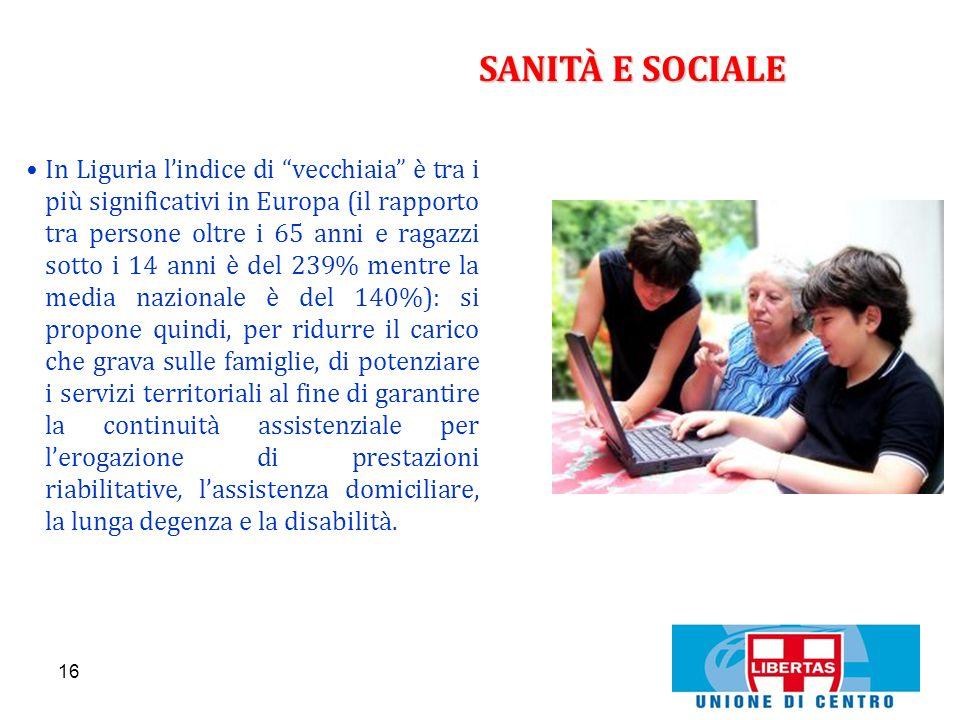 16 SANITÀ E SOCIALE In Liguria lindice di vecchiaia è tra i più significativi in Europa (il rapporto tra persone oltre i 65 anni e ragazzi sotto i 14
