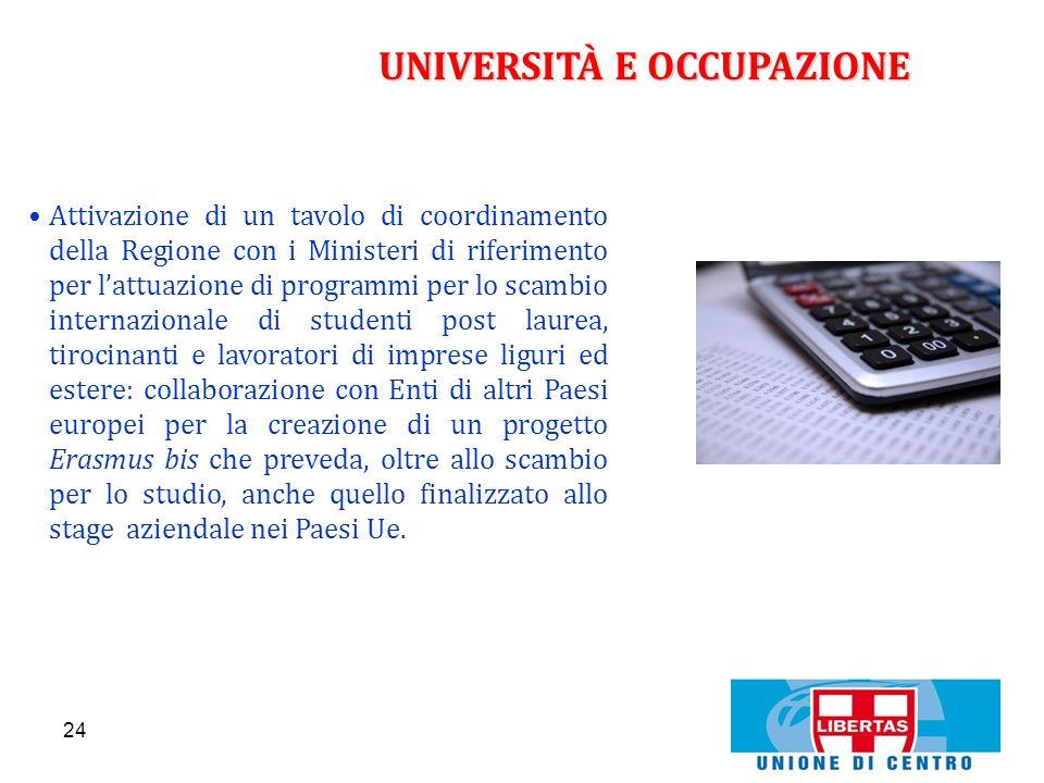 24 UNIVERSITÀ E OCCUPAZIONE Attivazione di un tavolo di coordinamento della Regione con i Ministeri di riferimento per lattuazione di programmi per lo