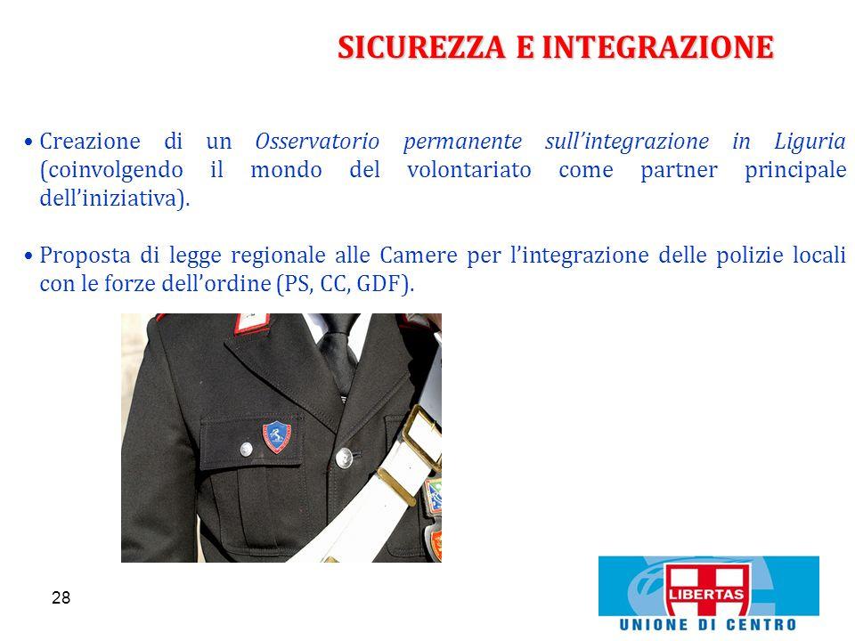 28 SICUREZZA E INTEGRAZIONE Creazione di un Osservatorio permanente sullintegrazione in Liguria (coinvolgendo il mondo del volontariato come partner p
