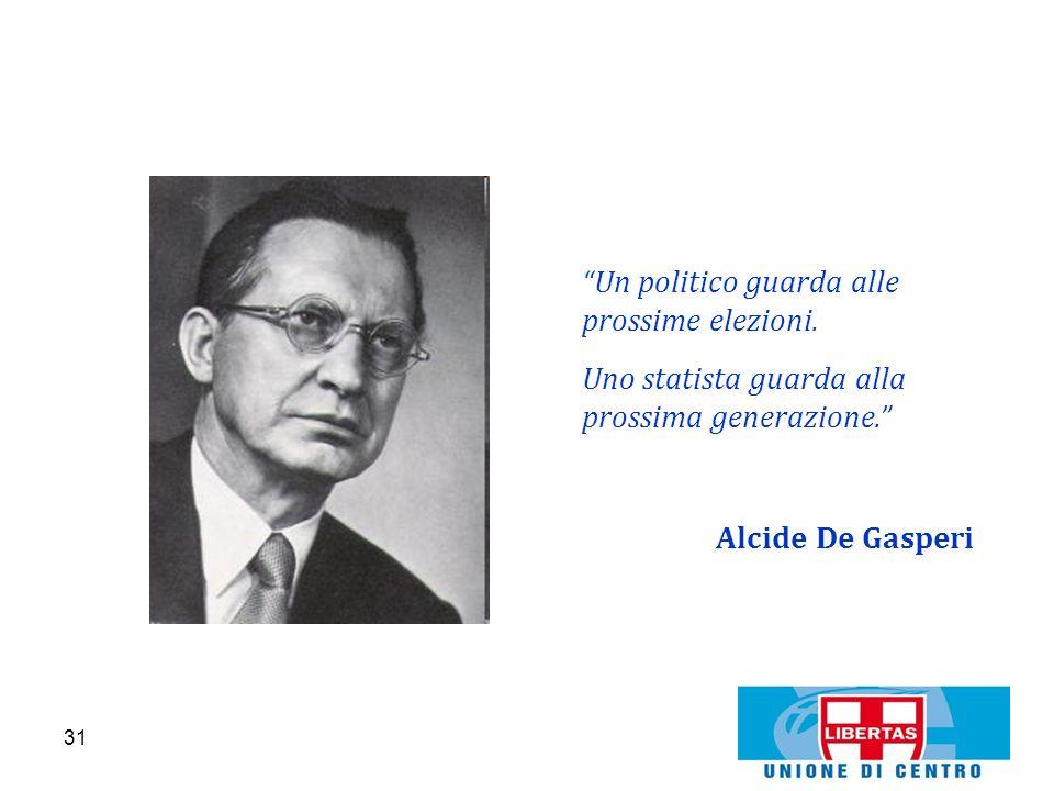 31 Un politico guarda alle prossime elezioni. Uno statista guarda alla prossima generazione. Alcide De Gasperi