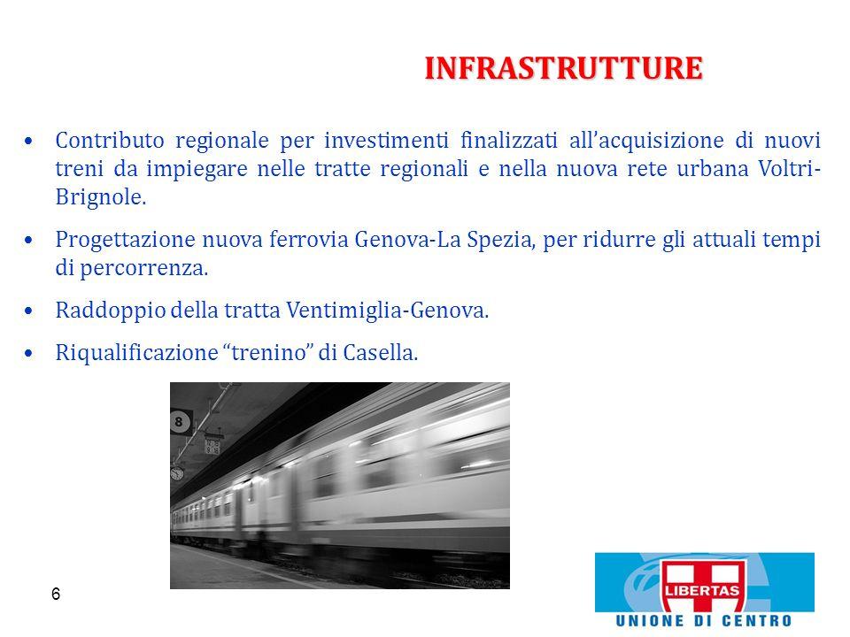 6 INFRASTRUTTURE Contributo regionale per investimenti finalizzati allacquisizione di nuovi treni da impiegare nelle tratte regionali e nella nuova re