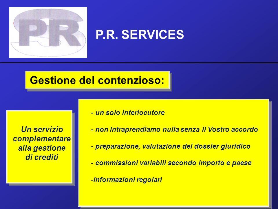 P.R. SERVICES Gestione del contenzioso: Un servizio complementare alla gestione di crediti - un solo interlocutore - non intraprendiamo nulla senza il
