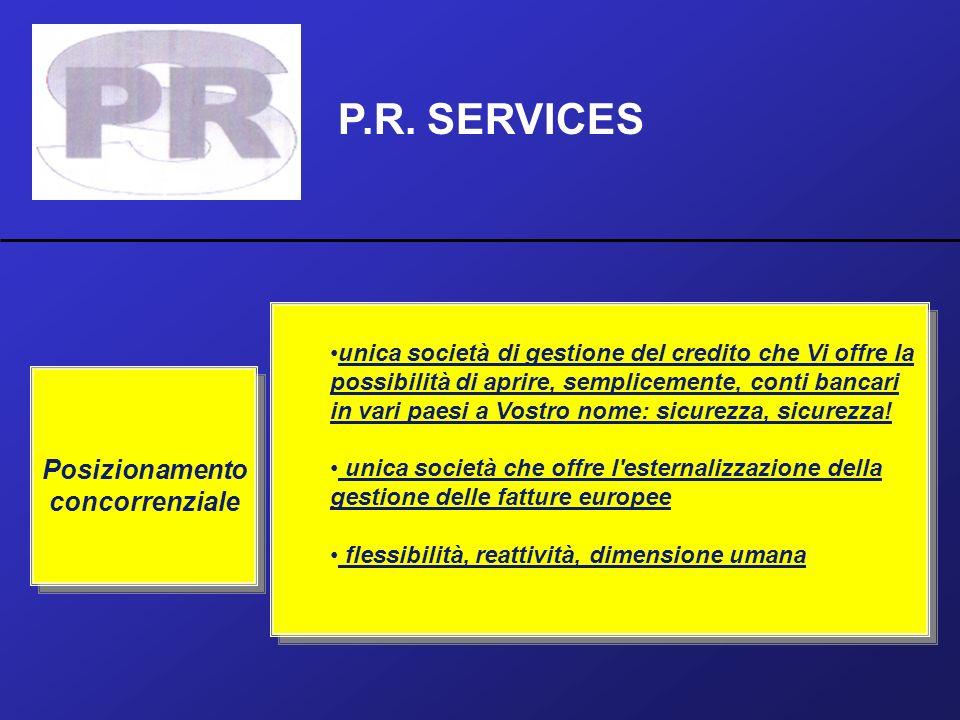 P.R. SERVICES Posizionamento concorrenziale unica società di gestione del credito che Vi offre la possibilità di aprire, semplicemente, conti bancari