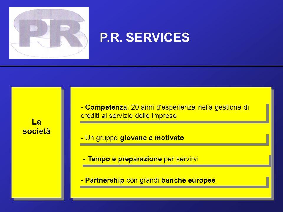 P.R. SERVICES La società - Competenza: 20 anni d'esperienza nella gestione di crediti al servizio delle imprese - Un gruppo giovane e motivato - Tempo