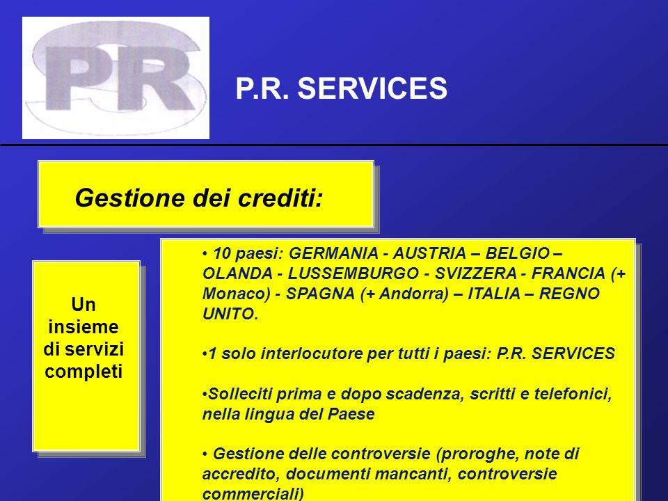 P.R. SERVICES Un insieme di servizi completi 10 paesi: GERMANIA - AUSTRIA – BELGIO – OLANDA - LUSSEMBURGO - SVIZZERA - FRANCIA (+ Monaco) - SPAGNA (+