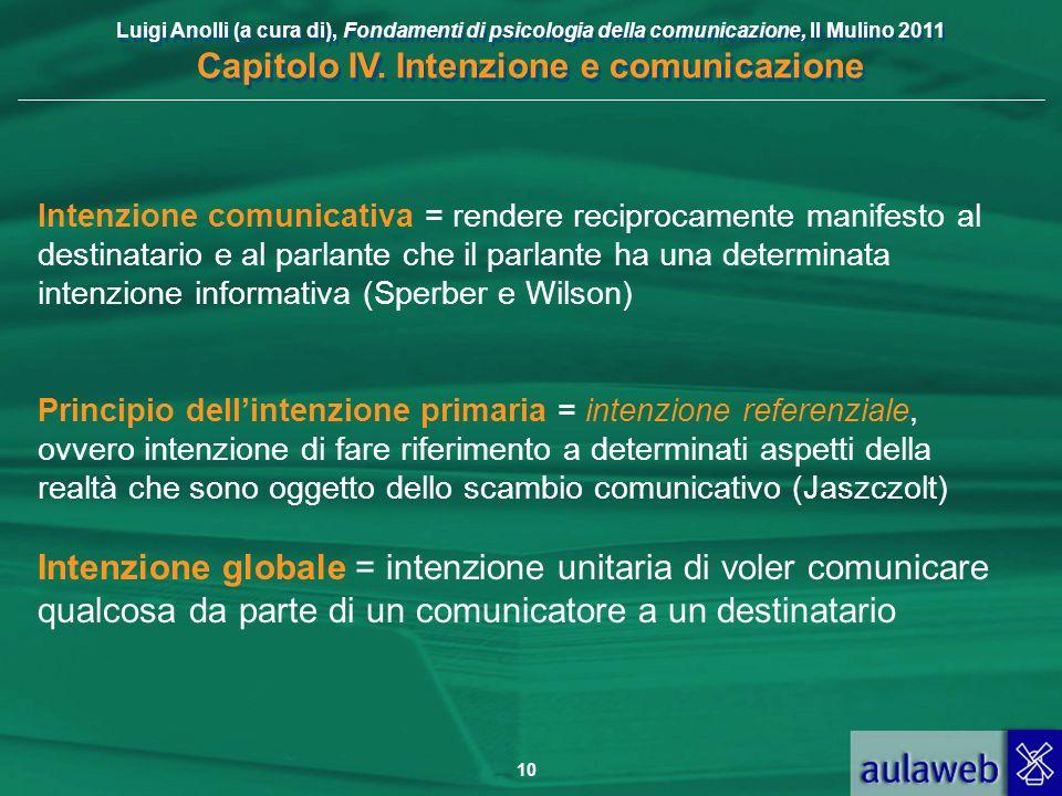 Luigi Anolli (a cura di), Fondamenti di psicologia della comunicazione, Il Mulino 2011 Capitolo IV. Intenzione e comunicazione 10 Intenzione comunicat