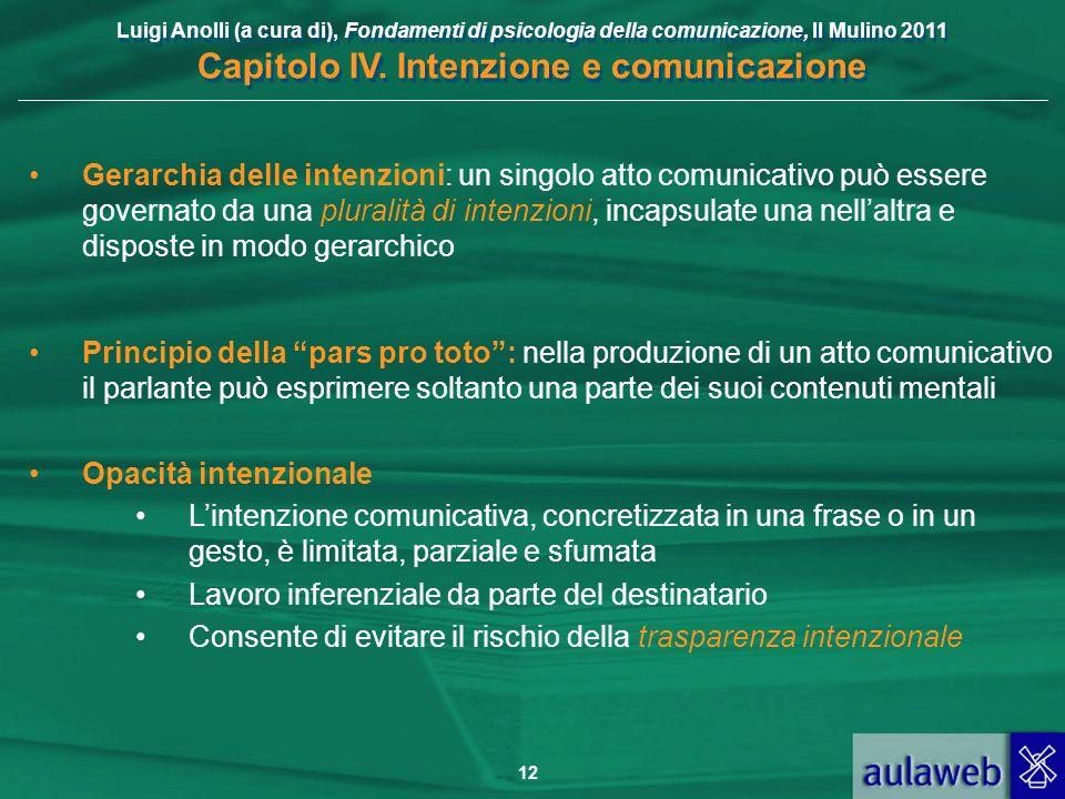 Luigi Anolli (a cura di), Fondamenti di psicologia della comunicazione, Il Mulino 2011 Capitolo IV. Intenzione e comunicazione 12 Gerarchia delle inte