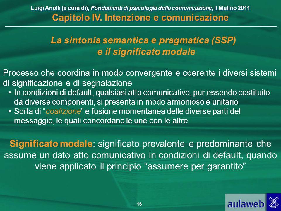 Luigi Anolli (a cura di), Fondamenti di psicologia della comunicazione, Il Mulino 2011 Capitolo IV. Intenzione e comunicazione 16 La sintonia semantic