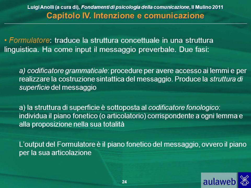 Luigi Anolli (a cura di), Fondamenti di psicologia della comunicazione, Il Mulino 2011 Capitolo IV. Intenzione e comunicazione 24 Formulatore: traduce