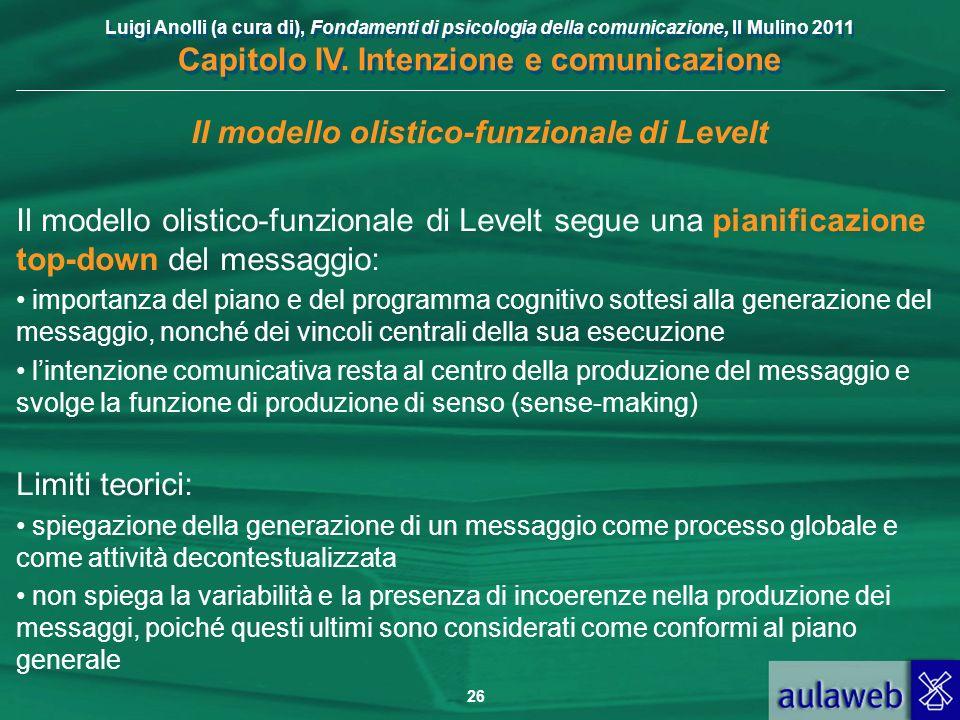 Luigi Anolli (a cura di), Fondamenti di psicologia della comunicazione, Il Mulino 2011 Capitolo IV. Intenzione e comunicazione 26 Il modello olistico-