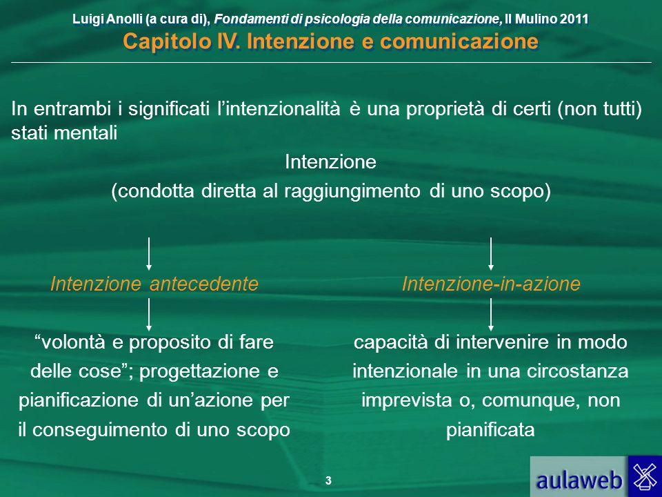 Luigi Anolli (a cura di), Fondamenti di psicologia della comunicazione, Il Mulino 2011 Capitolo IV. Intenzione e comunicazione 3 In entrambi i signifi