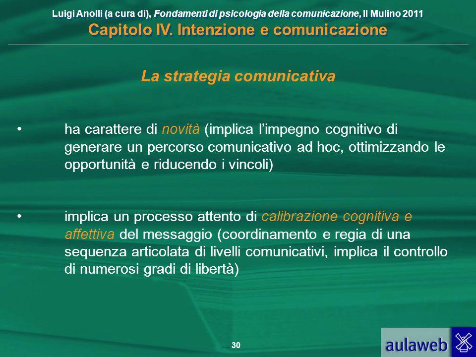 Luigi Anolli (a cura di), Fondamenti di psicologia della comunicazione, Il Mulino 2011 Capitolo IV. Intenzione e comunicazione 30 La strategia comunic