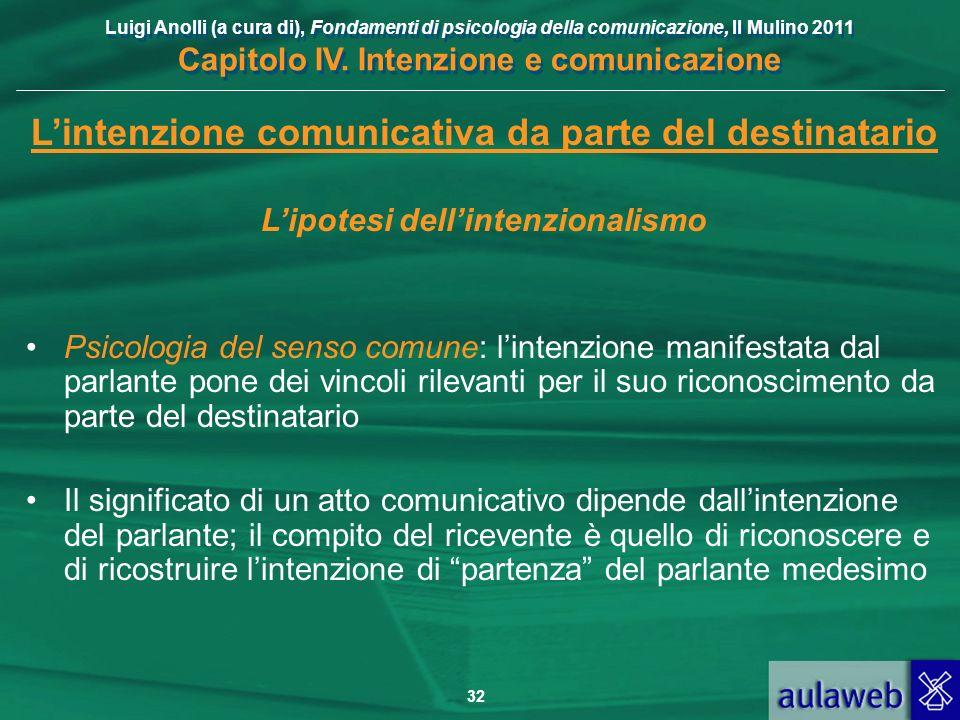 Luigi Anolli (a cura di), Fondamenti di psicologia della comunicazione, Il Mulino 2011 Capitolo IV. Intenzione e comunicazione 32 Lintenzione comunica