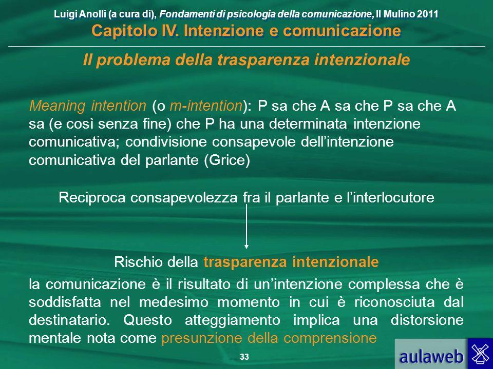 Luigi Anolli (a cura di), Fondamenti di psicologia della comunicazione, Il Mulino 2011 Capitolo IV. Intenzione e comunicazione 33 Il problema della tr