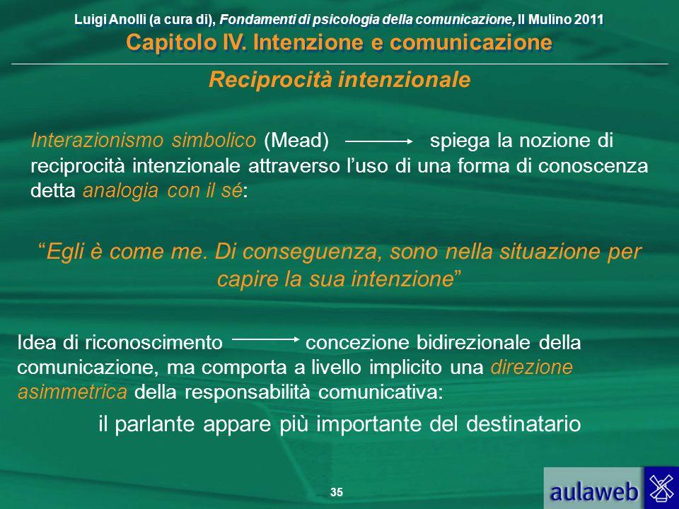 Luigi Anolli (a cura di), Fondamenti di psicologia della comunicazione, Il Mulino 2011 Capitolo IV. Intenzione e comunicazione 35 Reciprocità intenzio