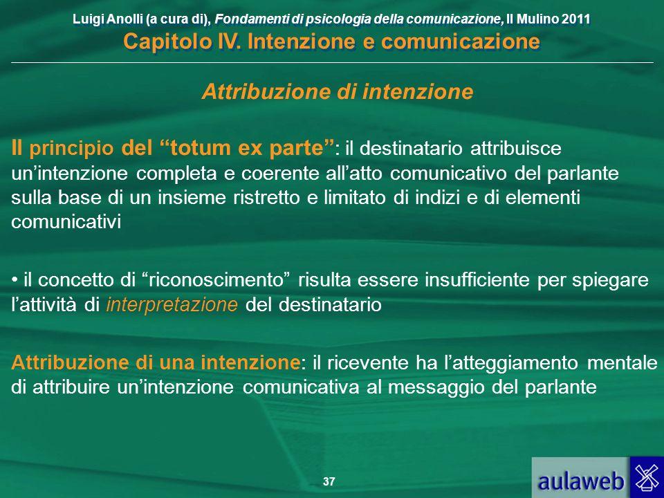 Luigi Anolli (a cura di), Fondamenti di psicologia della comunicazione, Il Mulino 2011 Capitolo IV. Intenzione e comunicazione 37 Attribuzione di inte