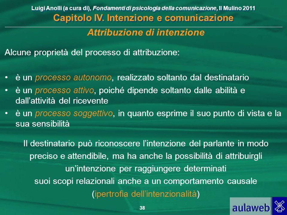 Luigi Anolli (a cura di), Fondamenti di psicologia della comunicazione, Il Mulino 2011 Capitolo IV. Intenzione e comunicazione 38 Attribuzione di inte