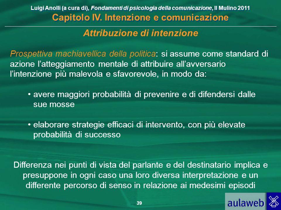 Luigi Anolli (a cura di), Fondamenti di psicologia della comunicazione, Il Mulino 2011 Capitolo IV. Intenzione e comunicazione 39 Attribuzione di inte