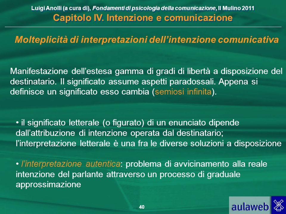 Luigi Anolli (a cura di), Fondamenti di psicologia della comunicazione, Il Mulino 2011 Capitolo IV. Intenzione e comunicazione 40 Molteplicità di inte