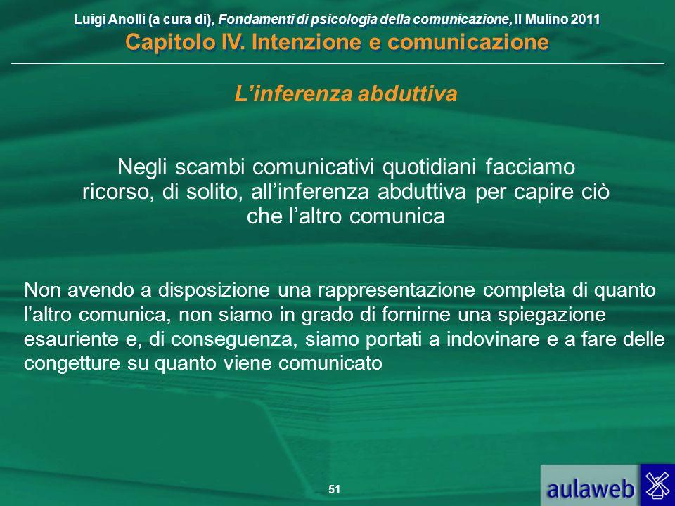 Luigi Anolli (a cura di), Fondamenti di psicologia della comunicazione, Il Mulino 2011 Capitolo IV. Intenzione e comunicazione 51 Linferenza abduttiva