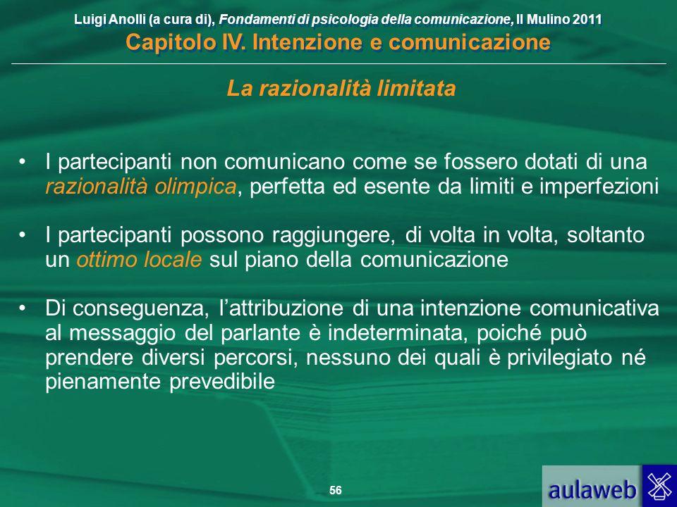 Luigi Anolli (a cura di), Fondamenti di psicologia della comunicazione, Il Mulino 2011 Capitolo IV. Intenzione e comunicazione 56 La razionalità limit