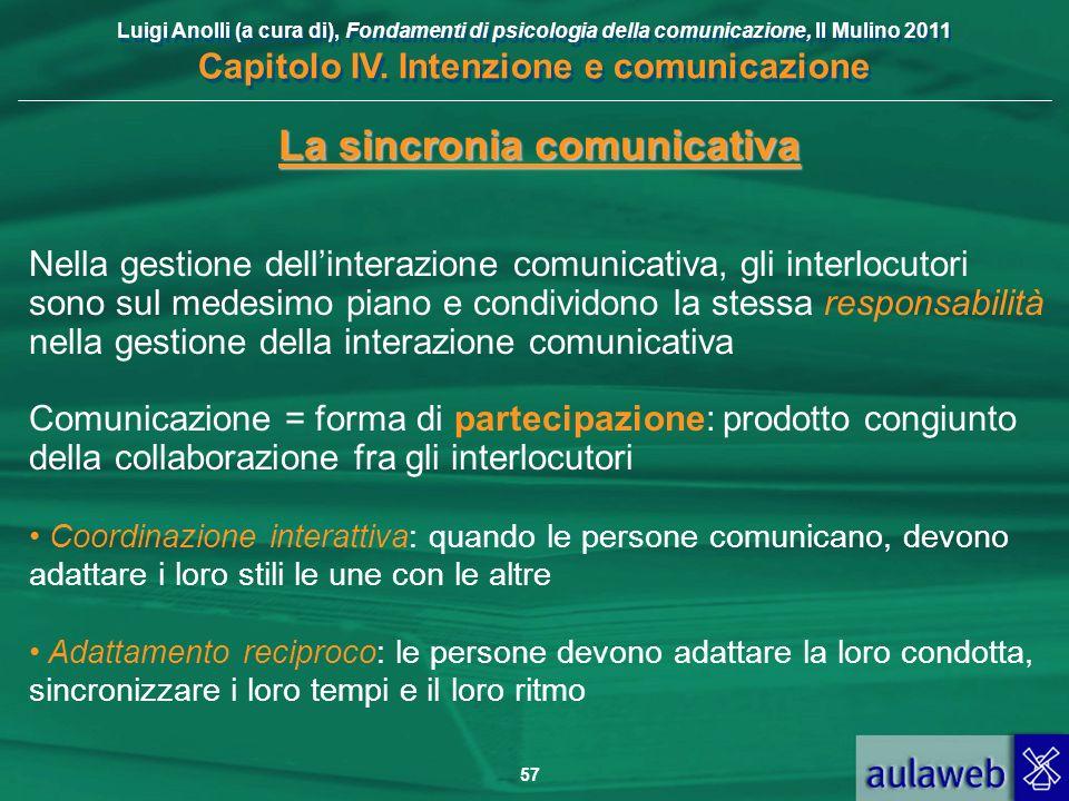 Luigi Anolli (a cura di), Fondamenti di psicologia della comunicazione, Il Mulino 2011 Capitolo IV. Intenzione e comunicazione 57 La sincronia comunic