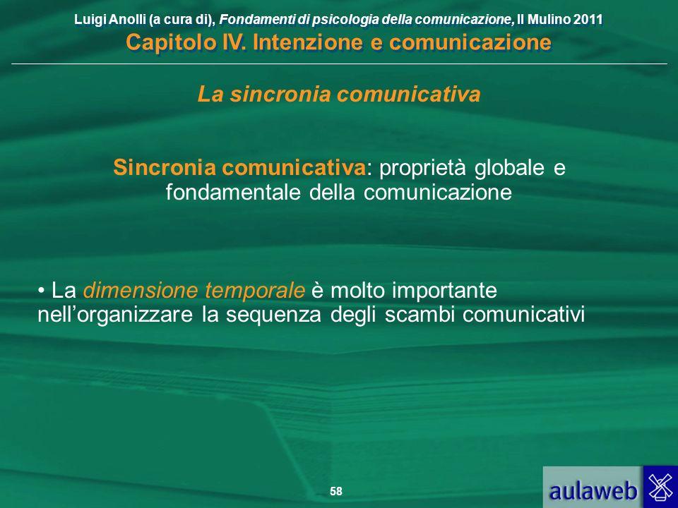 Luigi Anolli (a cura di), Fondamenti di psicologia della comunicazione, Il Mulino 2011 Capitolo IV. Intenzione e comunicazione 58 La sincronia comunic