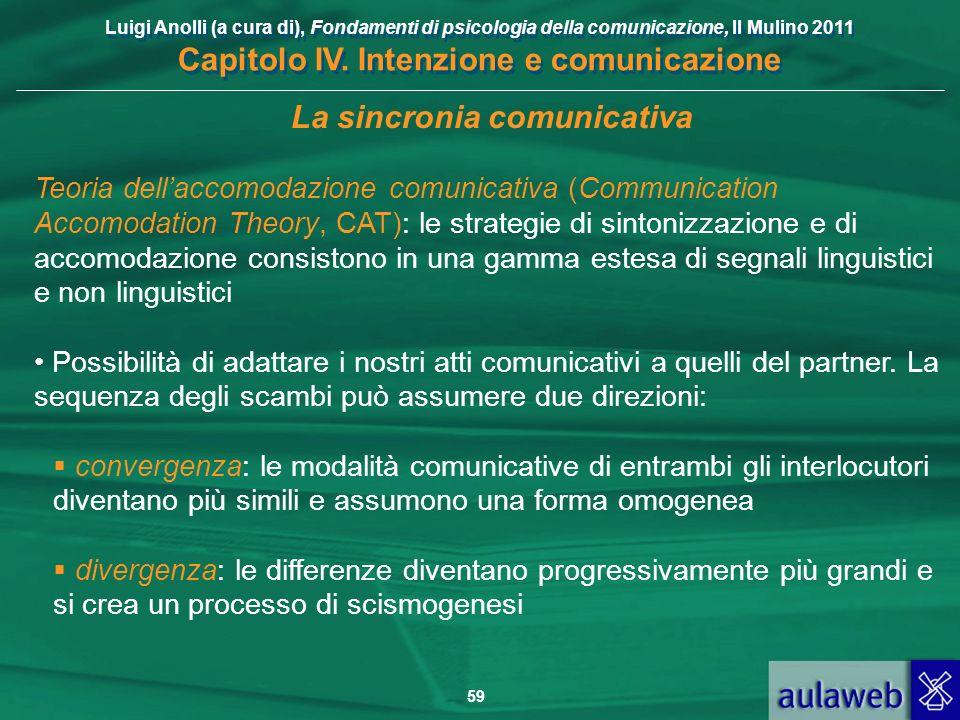 Luigi Anolli (a cura di), Fondamenti di psicologia della comunicazione, Il Mulino 2011 Capitolo IV. Intenzione e comunicazione 59 La sincronia comunic
