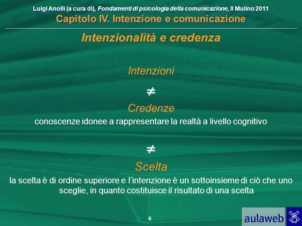 Luigi Anolli (a cura di), Fondamenti di psicologia della comunicazione, Il Mulino 2011 Capitolo IV. Intenzione e comunicazione 6 Intenzionalità e cred
