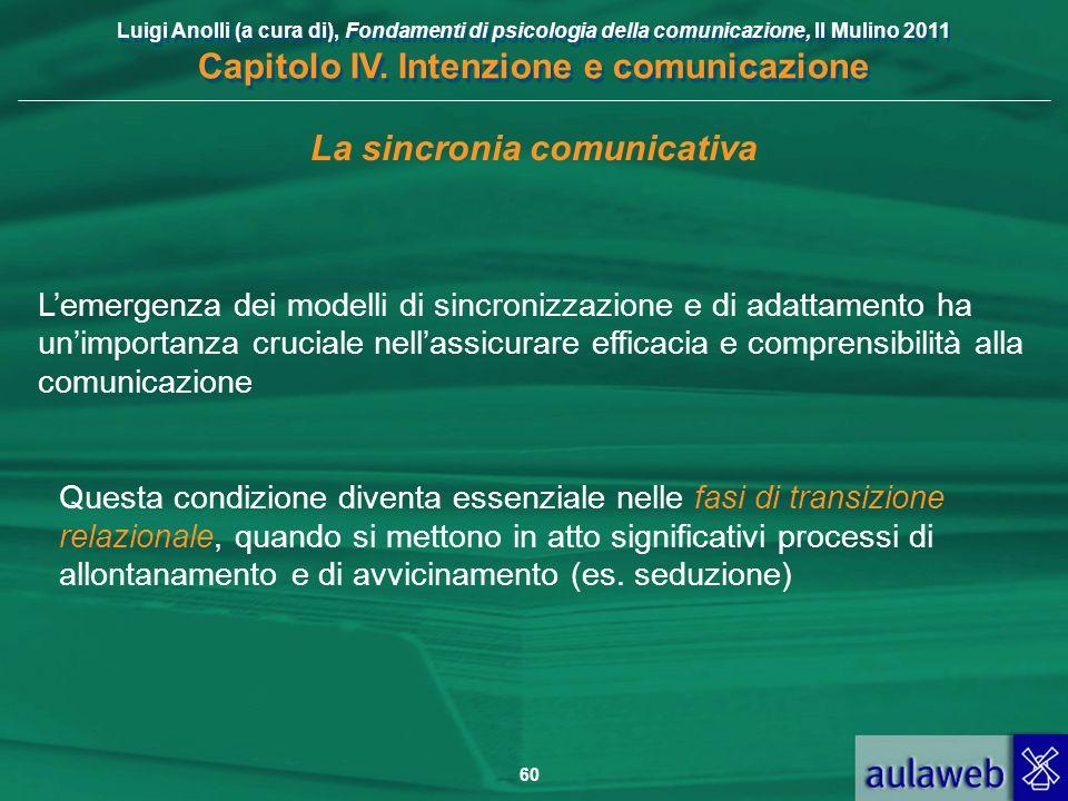 Luigi Anolli (a cura di), Fondamenti di psicologia della comunicazione, Il Mulino 2011 Capitolo IV. Intenzione e comunicazione 60 La sincronia comunic