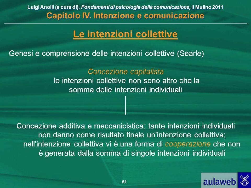 Luigi Anolli (a cura di), Fondamenti di psicologia della comunicazione, Il Mulino 2011 Capitolo IV. Intenzione e comunicazione 61 Le intenzioni collet