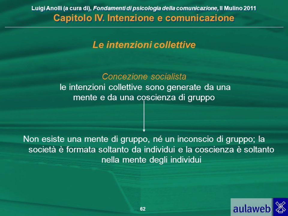 Luigi Anolli (a cura di), Fondamenti di psicologia della comunicazione, Il Mulino 2011 Capitolo IV. Intenzione e comunicazione 62 Le intenzioni collet