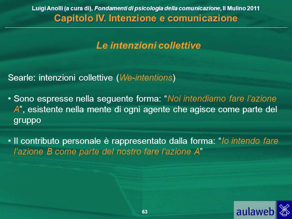 Luigi Anolli (a cura di), Fondamenti di psicologia della comunicazione, Il Mulino 2011 Capitolo IV. Intenzione e comunicazione 63 Le intenzioni collet