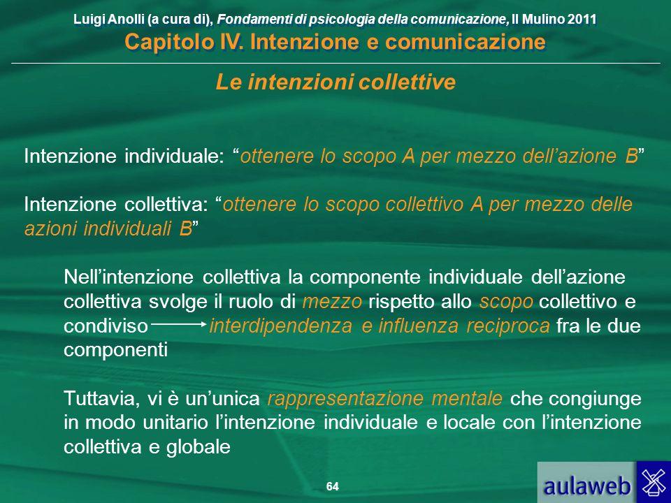 Luigi Anolli (a cura di), Fondamenti di psicologia della comunicazione, Il Mulino 2011 Capitolo IV. Intenzione e comunicazione 64 Le intenzioni collet