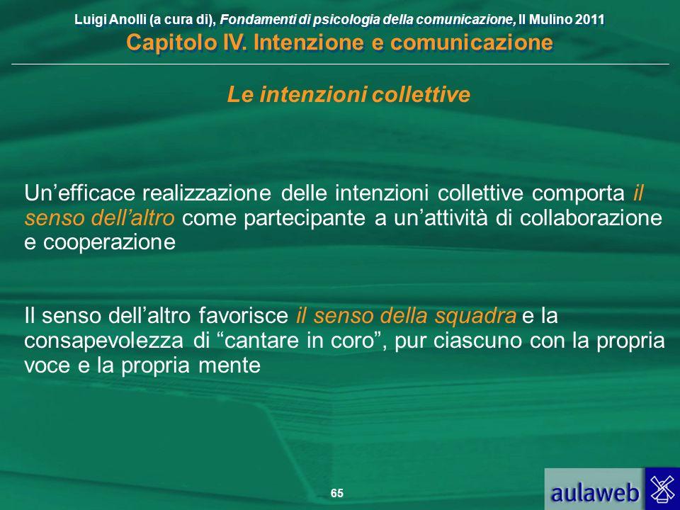 Luigi Anolli (a cura di), Fondamenti di psicologia della comunicazione, Il Mulino 2011 Capitolo IV. Intenzione e comunicazione 65 Le intenzioni collet