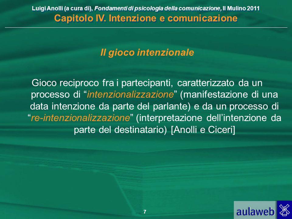 Luigi Anolli (a cura di), Fondamenti di psicologia della comunicazione, Il Mulino 2011 Capitolo IV. Intenzione e comunicazione 7 Il gioco intenzionale