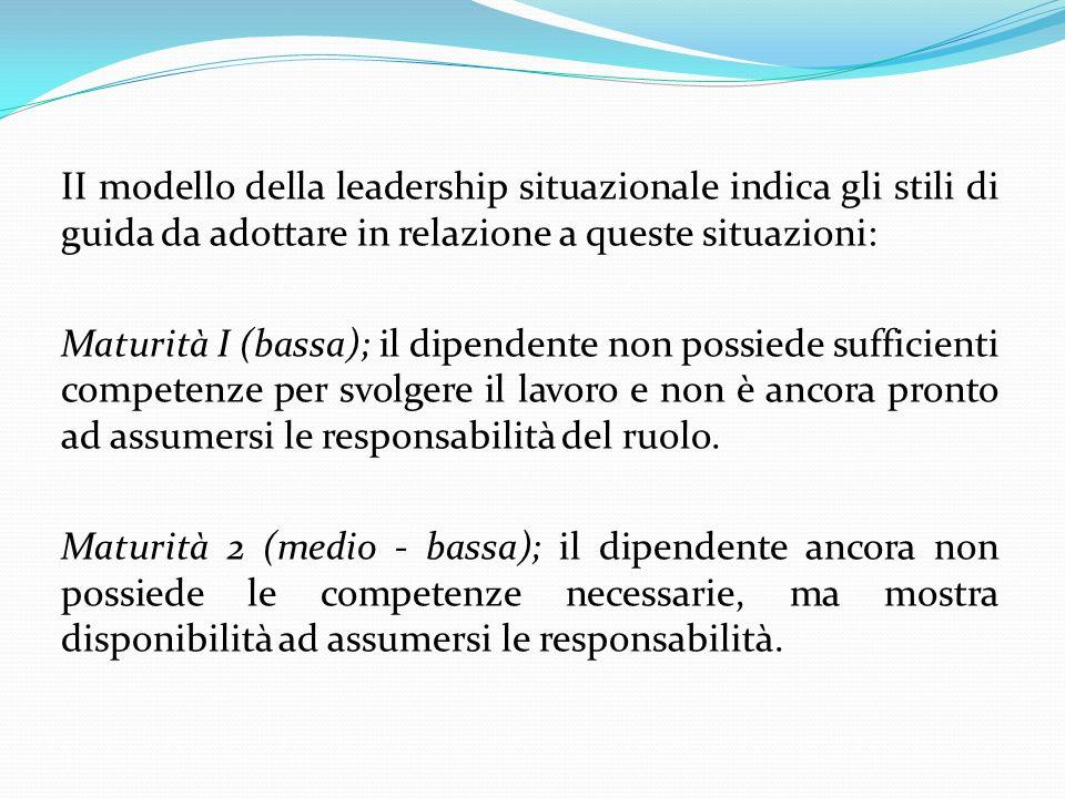 II modello della leadership situazionale indica gli stili di guida da adottare in relazione a queste situazioni: Maturità I (bassa); il dipendente non