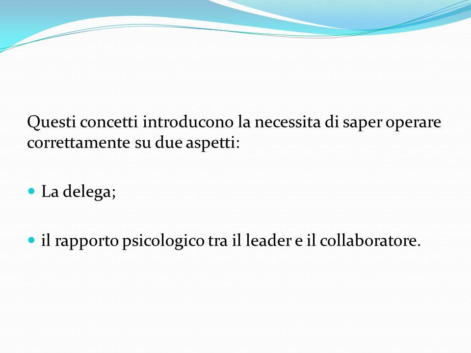 Questi concetti introducono la necessita di saper operare correttamente su due aspetti: La delega; il rapporto psicologico tra il leader e il collabor