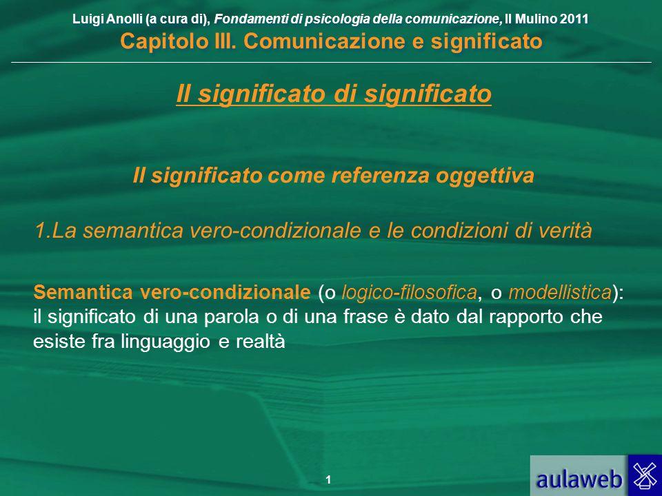 Luigi Anolli (a cura di), Fondamenti di psicologia della comunicazione, Il Mulino 2011 Capitolo III. Comunicazione e significato 1 Il significato di s