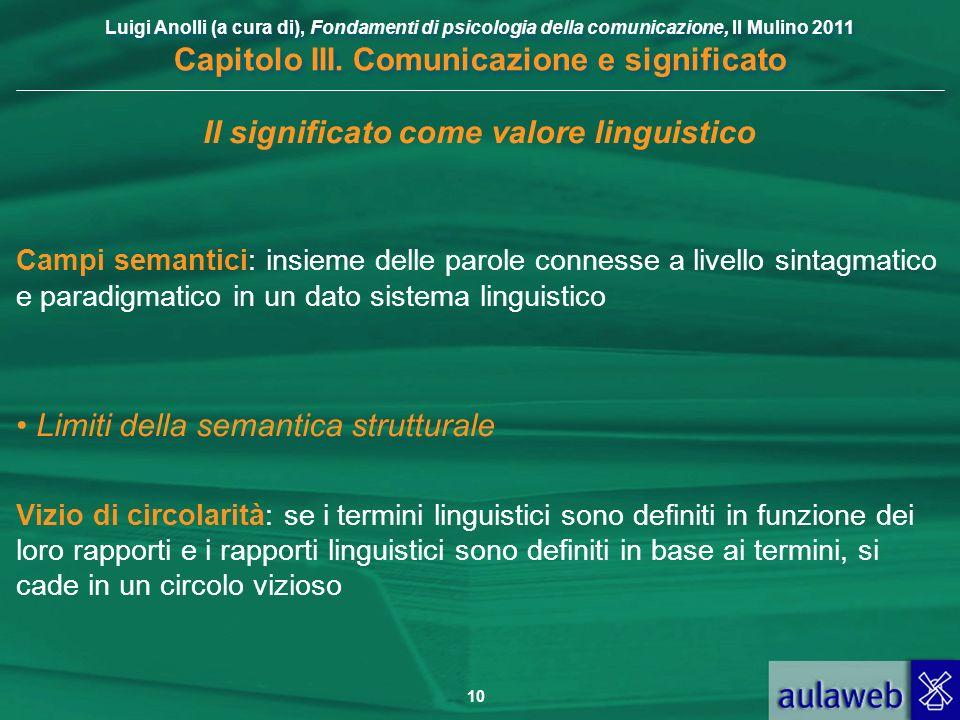 Luigi Anolli (a cura di), Fondamenti di psicologia della comunicazione, Il Mulino 2011 Capitolo III. Comunicazione e significato 10 Il significato com