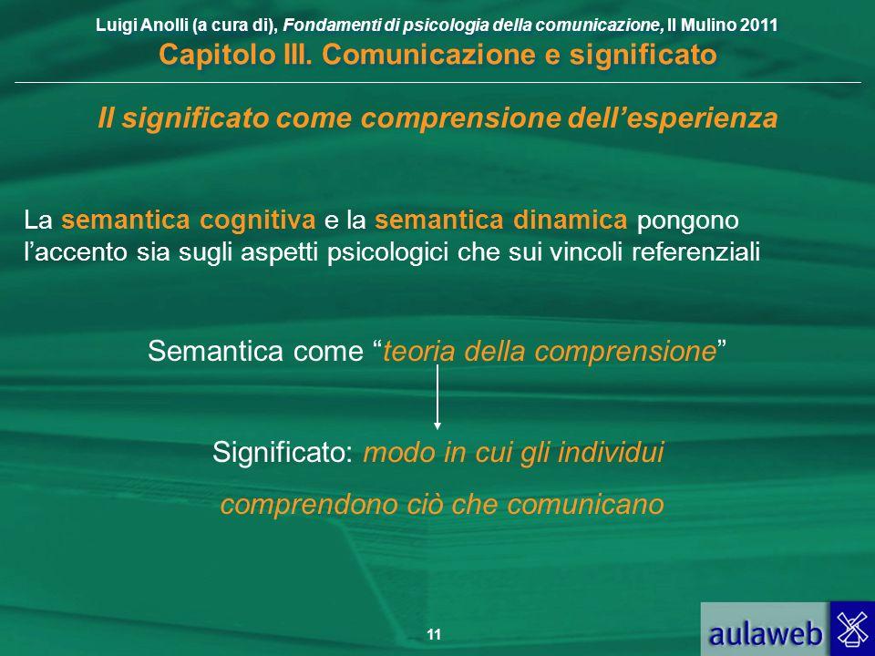 Luigi Anolli (a cura di), Fondamenti di psicologia della comunicazione, Il Mulino 2011 Capitolo III. Comunicazione e significato 11 Il significato com