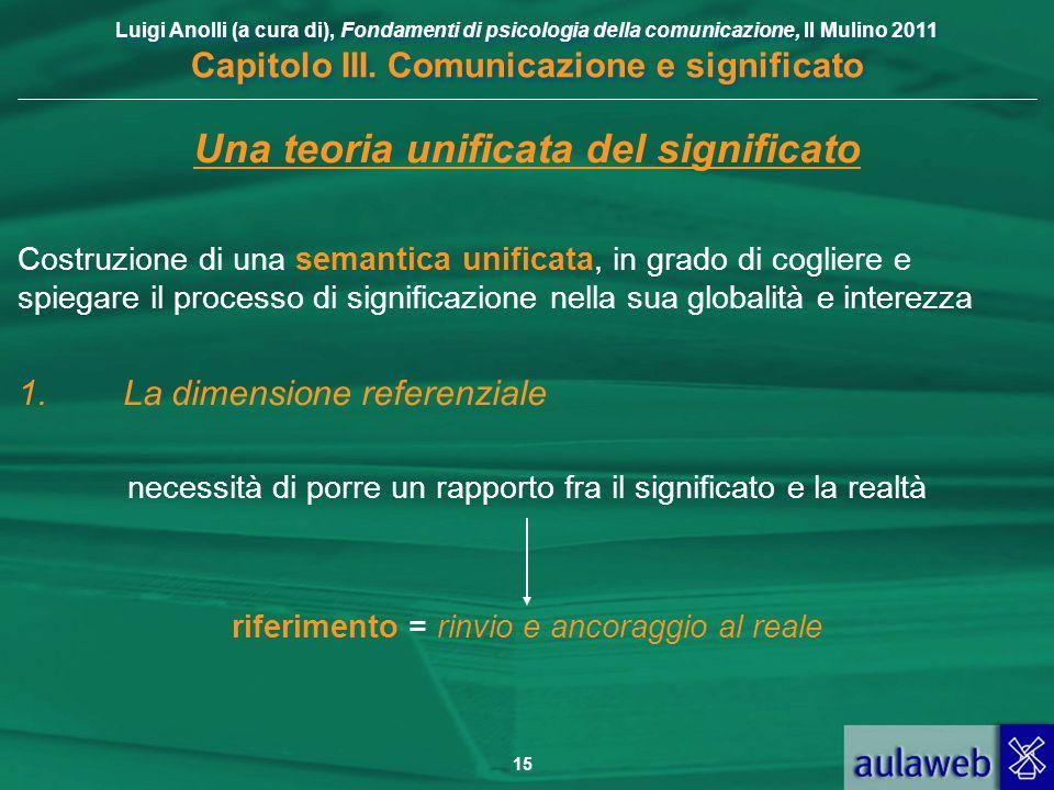 Luigi Anolli (a cura di), Fondamenti di psicologia della comunicazione, Il Mulino 2011 Capitolo III. Comunicazione e significato 15 Una teoria unifica