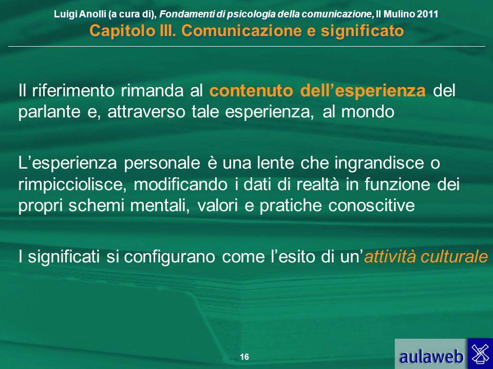Luigi Anolli (a cura di), Fondamenti di psicologia della comunicazione, Il Mulino 2011 Capitolo III. Comunicazione e significato 16 Il riferimento rim