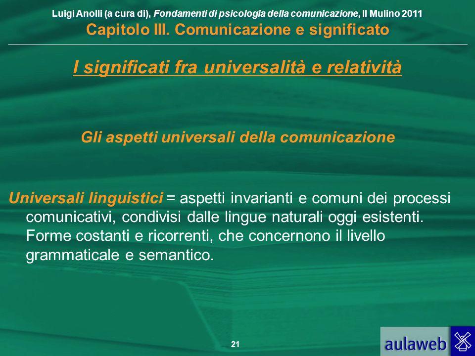 Luigi Anolli (a cura di), Fondamenti di psicologia della comunicazione, Il Mulino 2011 Capitolo III. Comunicazione e significato 21 I significati fra