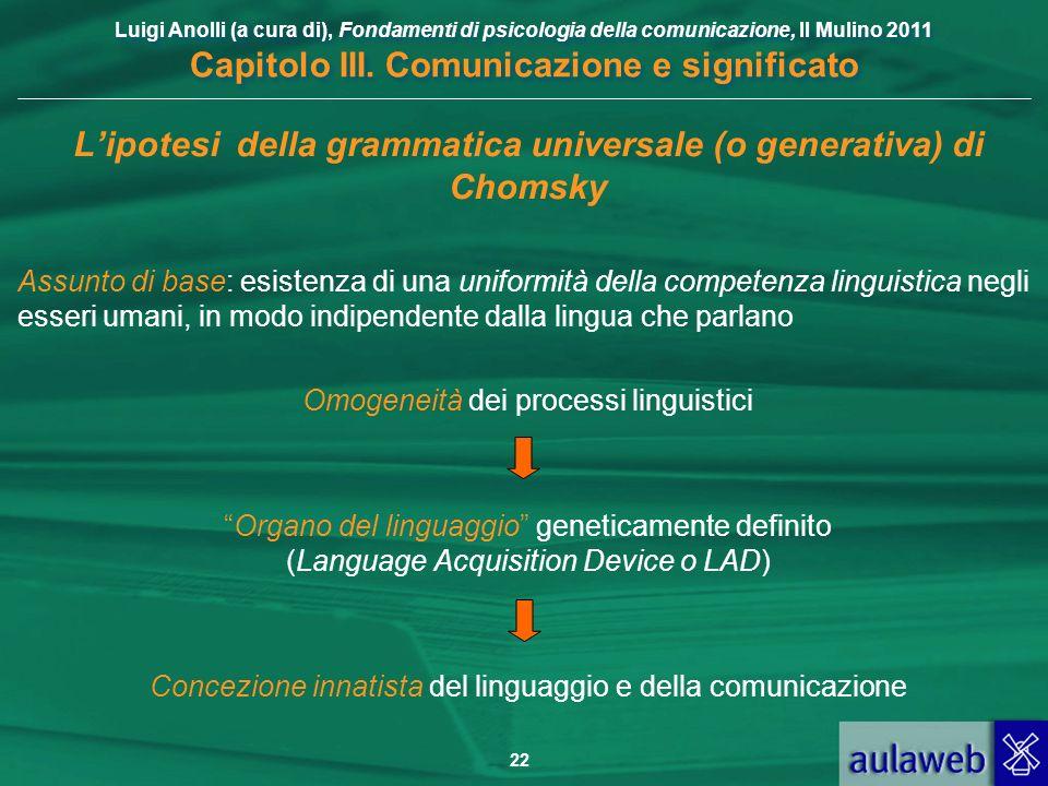 Luigi Anolli (a cura di), Fondamenti di psicologia della comunicazione, Il Mulino 2011 Capitolo III. Comunicazione e significato 22 Lipotesi della gra