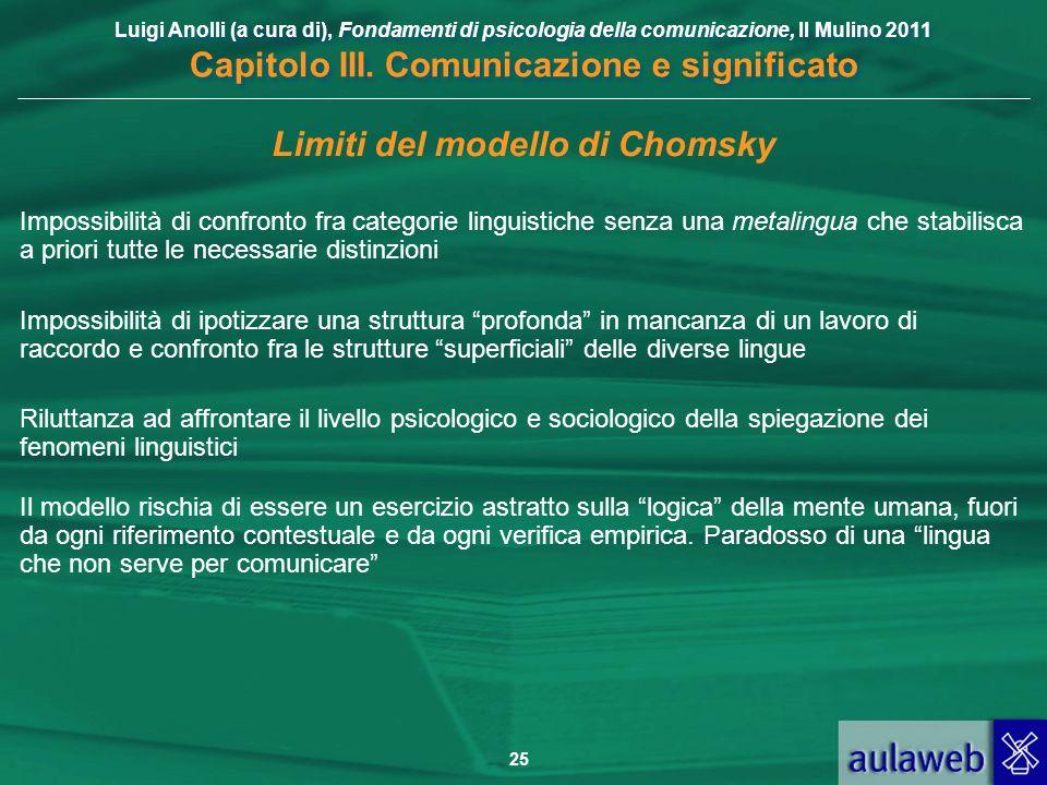 Luigi Anolli (a cura di), Fondamenti di psicologia della comunicazione, Il Mulino 2011 Capitolo III. Comunicazione e significato 25 Limiti del modello
