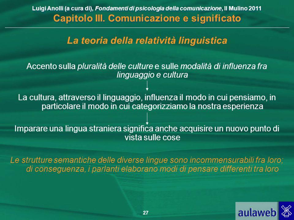 Luigi Anolli (a cura di), Fondamenti di psicologia della comunicazione, Il Mulino 2011 Capitolo III. Comunicazione e significato 27 La teoria della re